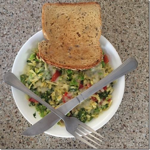 Shredded eggs and veggies